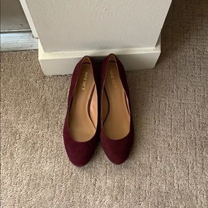 Nine West Burgundy Wedge Suede Heels